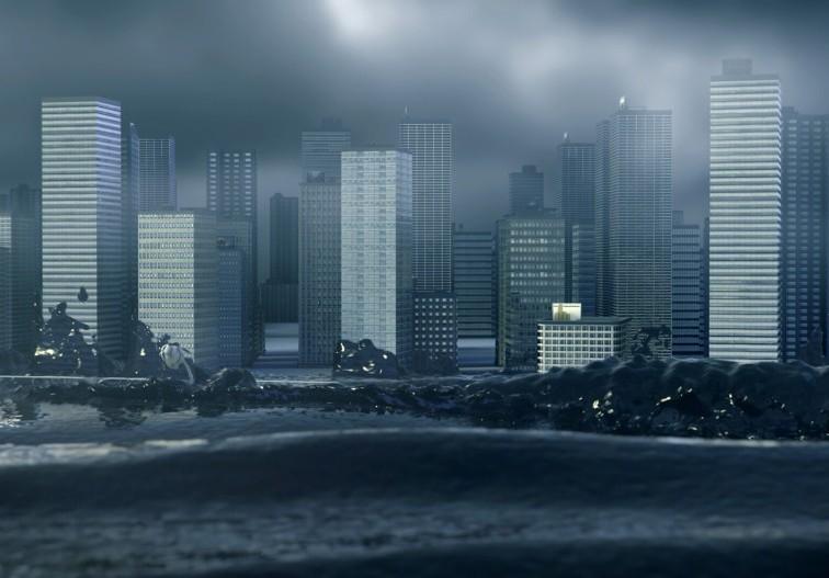 """Zur ARTE-Sendung Unter Wasser: Megacities in Gefahr 1: Animation einer Flutwelle, die New York City trifft. © Georama TV Foto: ARTE France Honorarfreie Verwendung nur im Zusammenhang mit genannter Sendung und bei folgender Nennung """"Bild: Sendeanstalt/Copyright"""". Andere Verwendungen nur nach vorheriger Absprache: ARTE-Bildredaktion, Silke Wölk Tel.: +33 3 881 422 25, E-Mail: bildredaktion@arte.tv"""